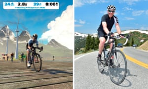 Virtually real: Nick (right) and a Zwift avatar (left)