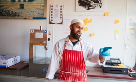 Halal butcher Mohammed Tabrez Noorji in his shop in Blackburn.