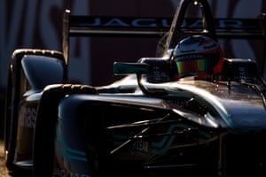 Panasonic Jaguar's Mitch Evans negotiates his Jaguar I-Type through the shade