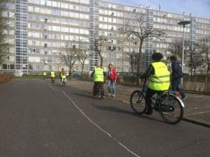 Harten voor Sport (Hearts for Sport) cycling instructor Marleen van de Vliet and students in her class.