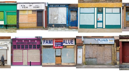 composite of closed down shops