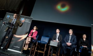 Shep Doeleman (left) revealing the first ever picture of a black hole at a press conference in Washington in April.