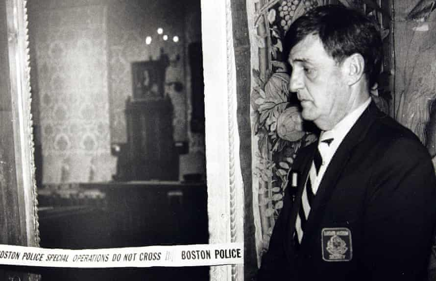 A security guard stands outside the Dutch Room of the Isabella Stewart Gardner Museum in Boston on 21 March 1990.