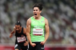 Jose Rodolfo Chessani Garcia of Team Mexico celebrates winning the gold medal after competing in the Men's 400m - T38 final.