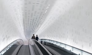 The curving escalator.