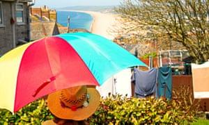 Chesil beach in sunny Dorset