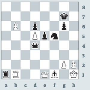 Anatoly Karpov v Mark Taimanov, Leningrad 1977 Facing the reigning world champion at the height of his powers, Taimanov looked right up against it. Karpov is a pawn up, and his b6 pawn is only two squares from queening. But Taimanov found the artistic finish 1...Ng3+! 2 hxg3 (if 2 Qxg3 Rxb1 and Black wins easily on material) Ra8! and Karpov, with no defence to Rh8 mate, resigned
