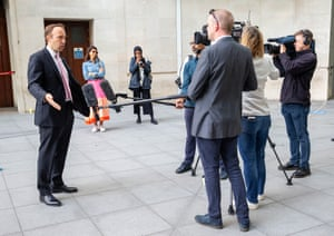 London, UK. The health secretary, Matt Hancock, arrives at the BBC studios for the Andrew Marr Show