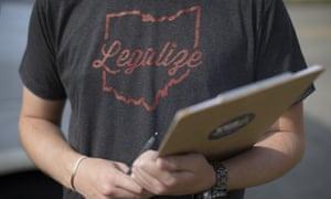 A volunteer for ResponsibleOhio, a pro-marijuana legalization group, is seen in October.