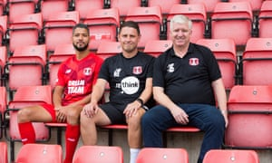 From left: Jobi McAnuff, Orient's captain and interim player-coach, Ross Embleton, the interim head coach, and Martin Ling, the director of football.