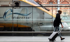 A Eurostar train in the terminal at London's St Pancras station.