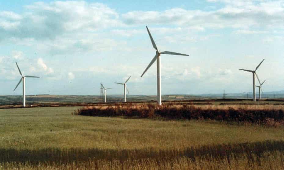 Delabole windfarm in 1991.