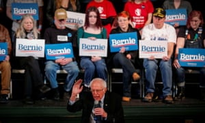 Bernie Sanders speaks to voters at a town hall campaign event in Derry, New Hampshire Wednesday.