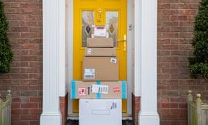 Parcels piled up on doorstep