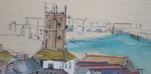 Above the Church St Ives. Textile artwork by Carole Greene