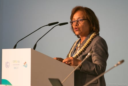 President Heine makes a speech at COP23 in Bonn.