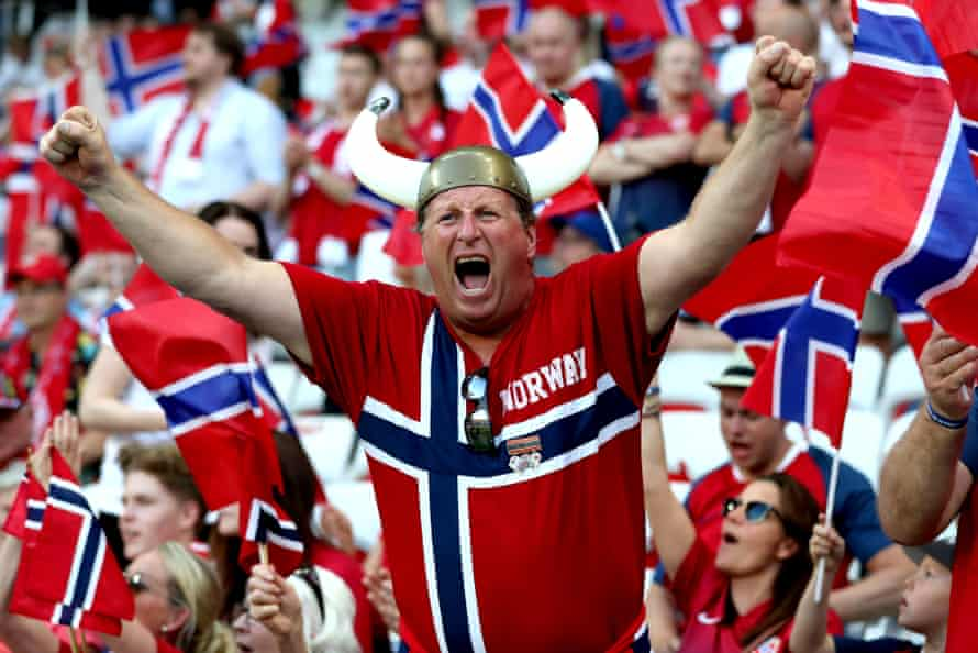 Norway fans show their support during a group A match between France and Norway at Stade de Nice.