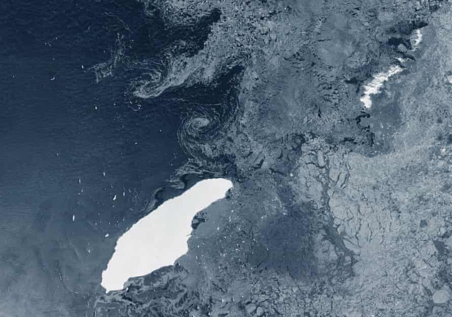 Iceberg A-68A in open waters in the South Atlantic.