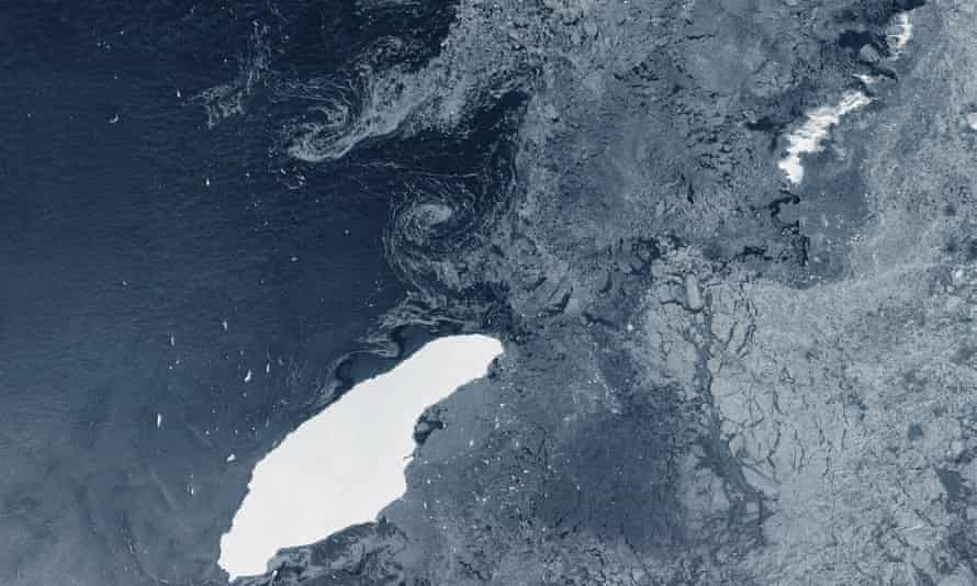 The giant floating ice island A-68A