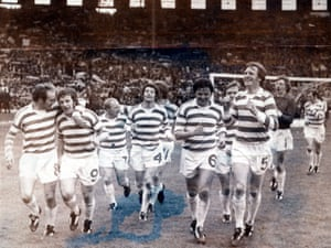McNeill (right) and his Celtic teammates celebrate after their 3-0 Scottish Cup final victory over Dundee United. The team also won the 1974 league championship for the ninth season in a row - at the time, a joint world record for success in domestic titles