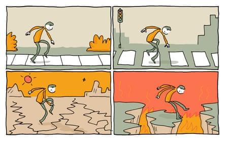 illustration of avoiding stepping on cracks