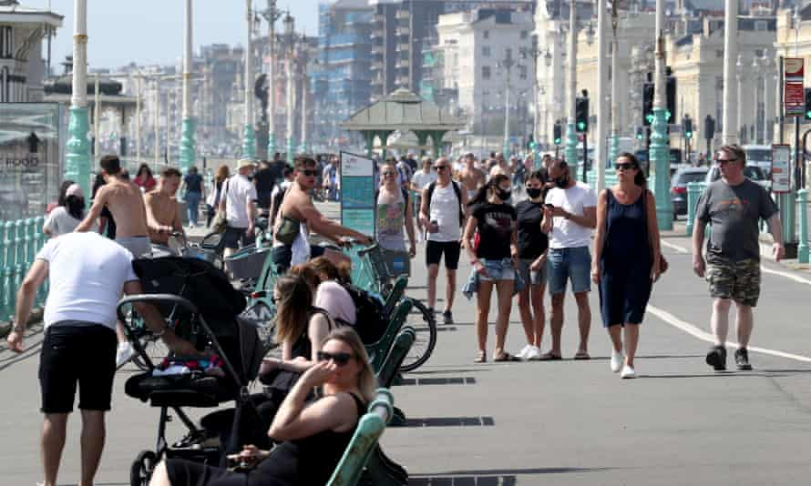Crowds on the promenade in Brighton  on 9 May.