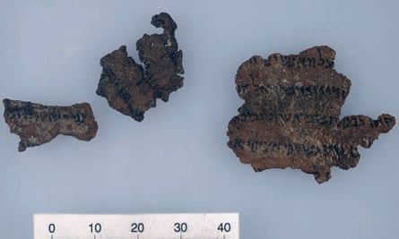 Supposed fragments of the Dead Sea Scrolls.