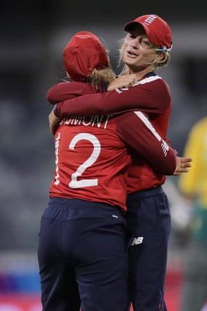 Tamsin Beaumont of England celebrates after taking the wicket of Dane Van Niekerk.