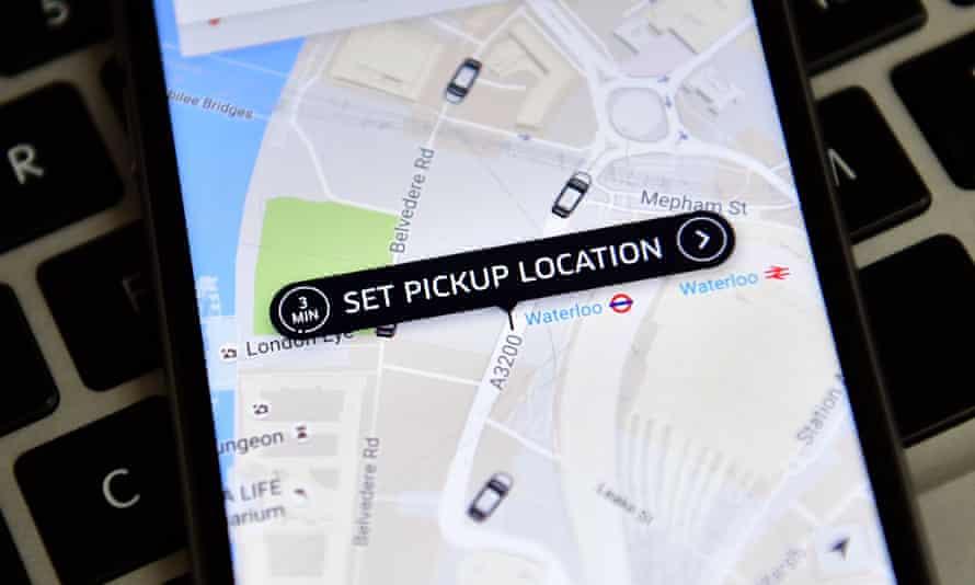 The Uber app.
