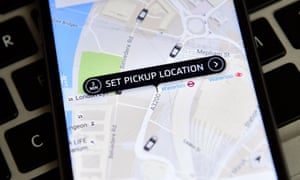 A screen shot of the Uber app showing pickup locations