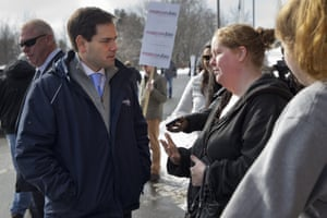 Marco Rubio outside of Gilbert Hood Middle School in Derry, New Hampshire.