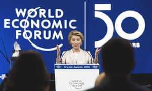 The president of the European Commission, Ursula von der Leyen, delivers a welcoming address prior to the start of the 50th annual meeting of the World Economic Forum in Davos, Switzerland.