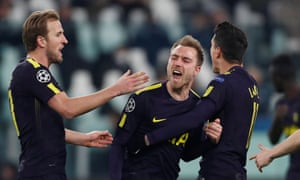 Christian Eriksen celebrates with Harry Kane and Érik Lamela after drilling in Tottenham's equaliser from a free-kick in a dramatic first leg at Juventus.