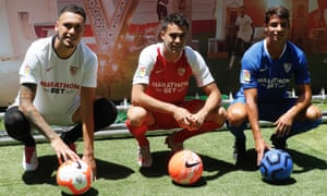 Left to right: new Sevilla signings Lucas Ocampos, Sergio Reguilon and Óliver Torres.