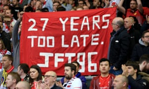 Football fans make their feelings clear about how the Hillsborough disaster was handled.