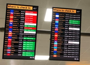 The flight departure boards showing cancelled flights at Glasgow Airport today.