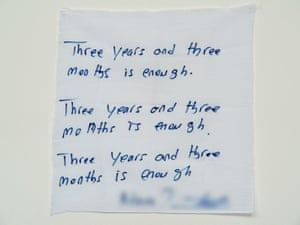 'Three years and three months is enough': a hand written note from a detainee on Manus Island.