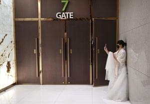 A bride takes a selfie