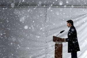 Justin Trudeau at a news conference on Thursday. The prime minister recently ended his self-isolation.