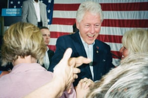 Bill Clinton meets the crowd at the Ironworkers Local union in Canton, Ohio, while campaigning for his wife