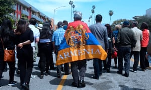 Armenian Americans march to demand recognition by Turkey of Armenian genocide in the Little Armenia neighborhood of Hollywood, California, on 24 April 2018.