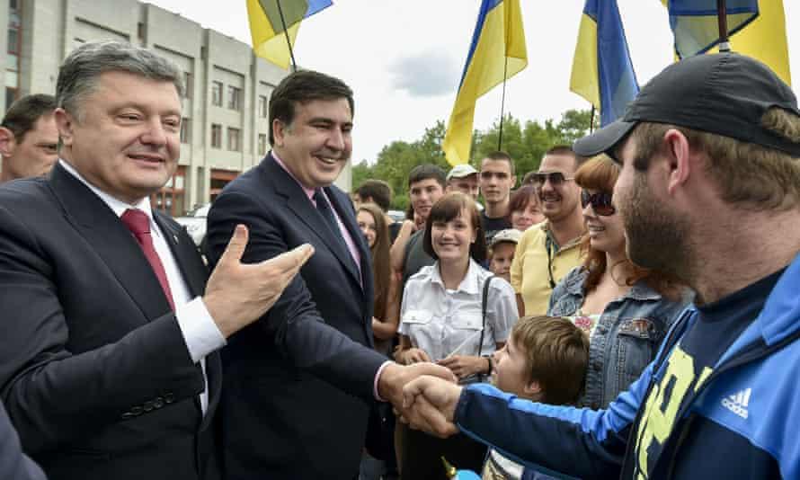 Poroshenko and Saakashvili last May.
