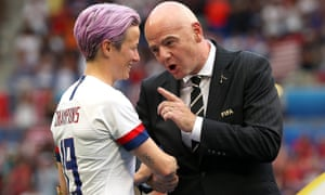 Megan Rapinoe is congratulated by Gianni Infantino, at the end of a tournament that was supposedly Fifa's somehow slipping from its control.