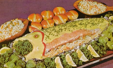 a baked stuffed salmon from the 70s.