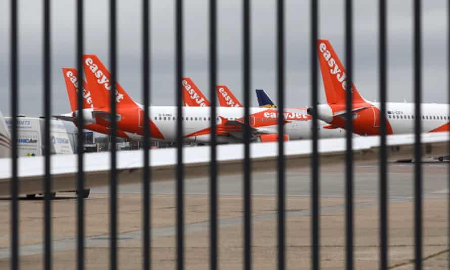 Parked EasyJet planes
