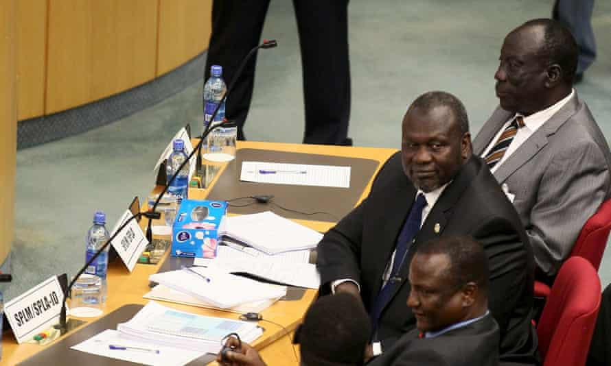 South Sudan's rebel leader Riek Machar and his delegates attend a peace meeting in Ethiopia's capital, Addis Ababa, on Monday.
