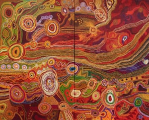 Seven Sisters tjukurrpa, by the Ken Family Collective, which won the Wynne prize at the 2016 Archibald announcement