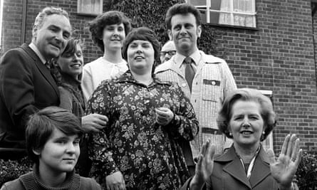 Margaret Thatcher, right, visiting the Parker family of Northolt in London after they had bought their council house