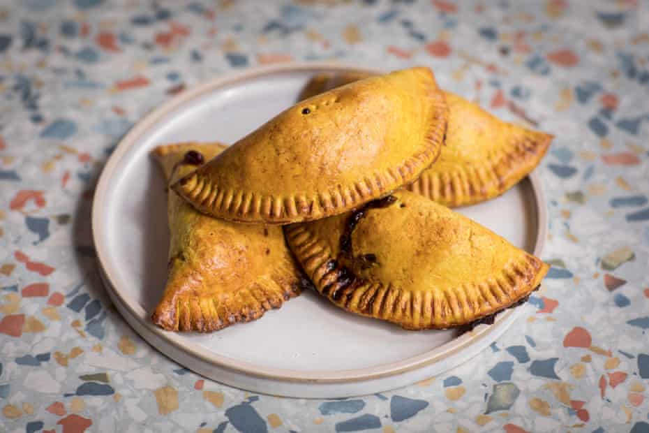 James Cochran's take on a mix between a Jamaican patty and Cornish pasty, with spicy curried goat, breadfruit, swede, carrot and onion filling.