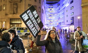 Protesters outside BBC Broadcasting House demonstrate against the 2019 Eurovision song contest being held in Israel, 8 February 2019